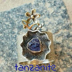 Tanzanite Artisan Ring Sterling Silver